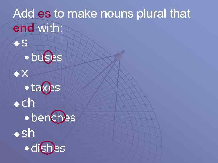 Add es to make nouns plural that end with: us • buses u x
