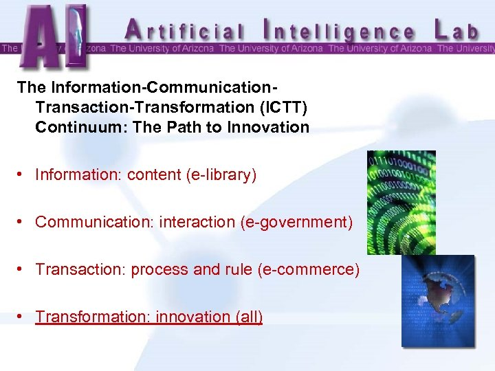 The Information-Communication. Transaction-Transformation (ICTT) Continuum: The Path to Innovation • Information: content (e-library) •