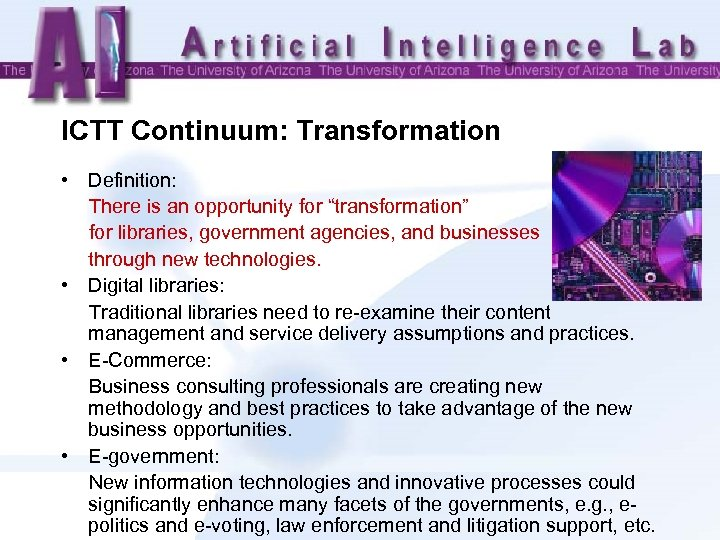 "ICTT Continuum: Transformation • Definition: There is an opportunity for ""transformation"" for libraries, government"