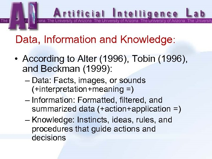 Data, Information and Knowledge: • According to Alter (1996), Tobin (1996), and Beckman (1999):
