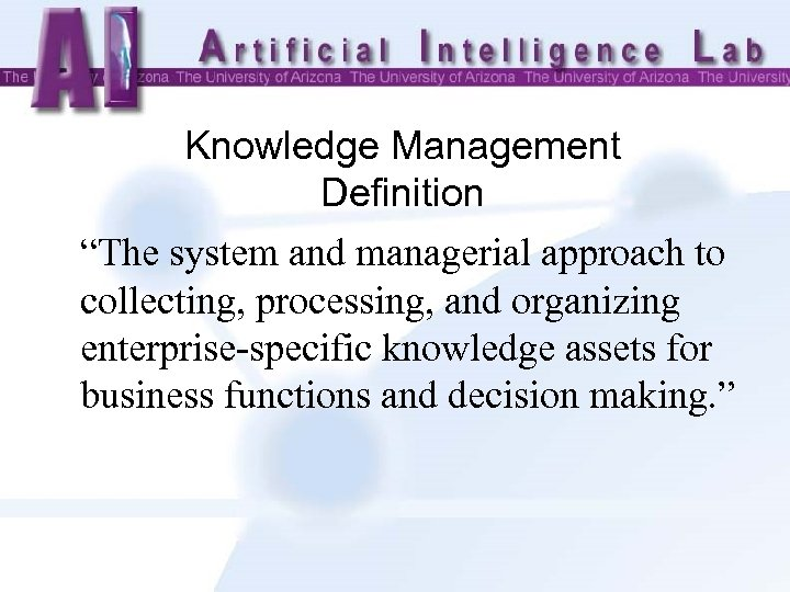 "Knowledge Management Definition ""The system and managerial approach to collecting, processing, and organizing enterprise-specific"