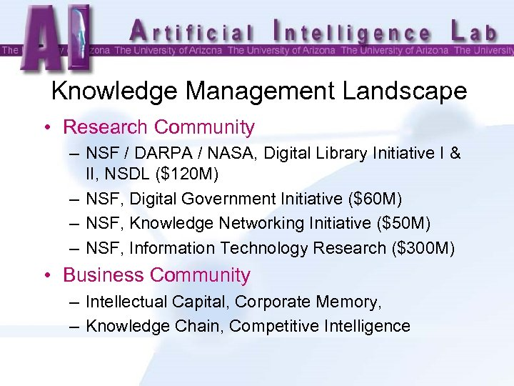 Knowledge Management Landscape • Research Community – NSF / DARPA / NASA, Digital Library