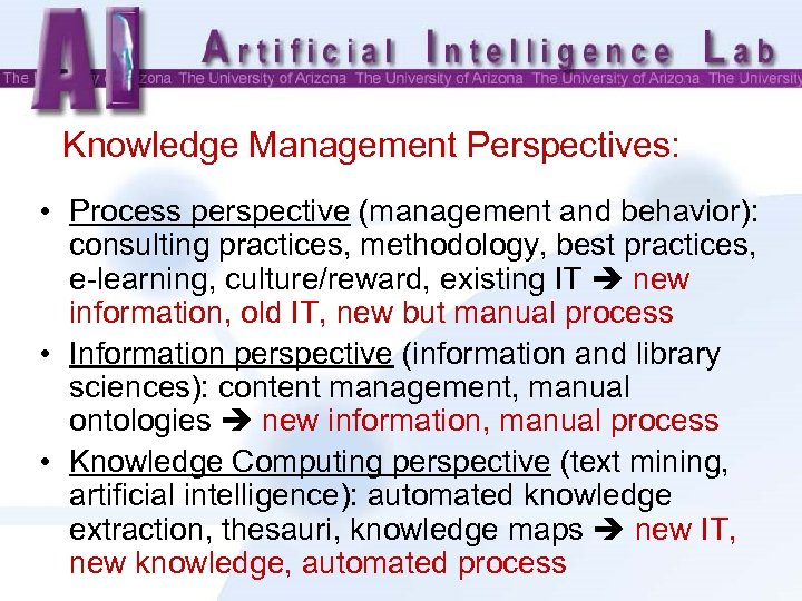 Knowledge Management Perspectives: • Process perspective (management and behavior): consulting practices, methodology, best practices,