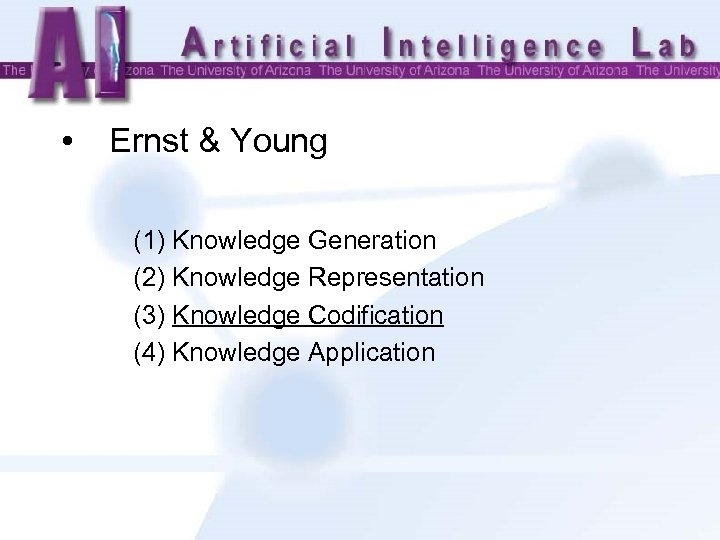 • Ernst & Young (1) Knowledge Generation (2) Knowledge Representation (3) Knowledge Codification