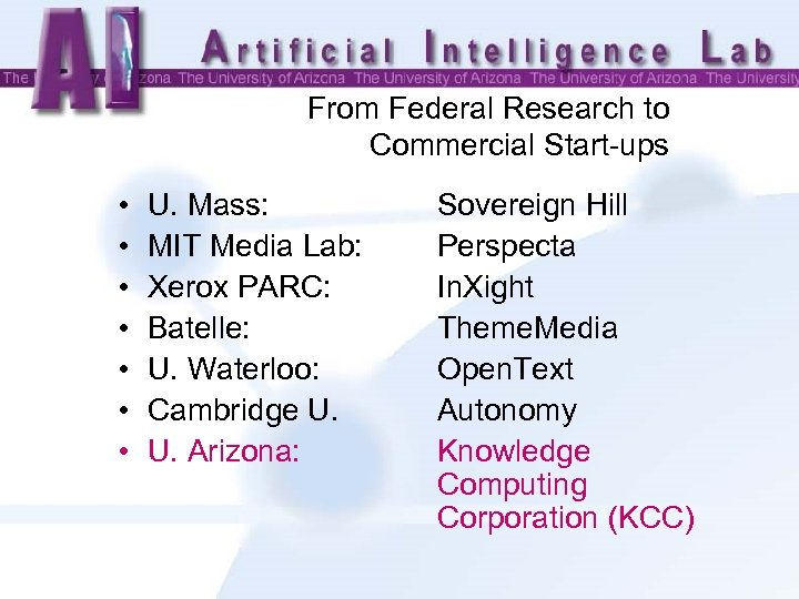 From Federal Research to Commercial Start-ups • • U. Mass: MIT Media Lab: Xerox