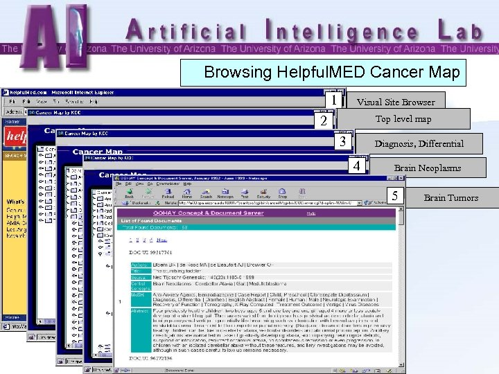 Browsing Helpful. MED Cancer Map 1 Visual Site Browser 2 Top level map 3