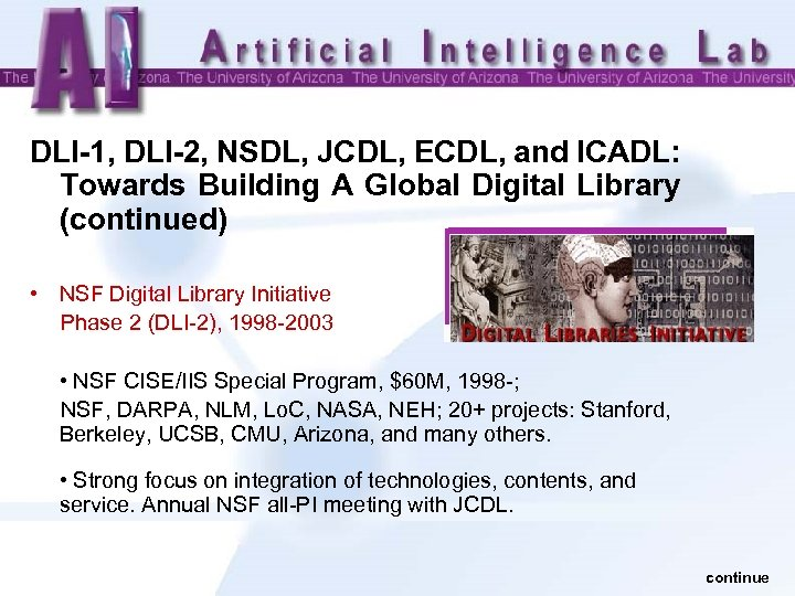 DLI-1, DLI-2, NSDL, JCDL, ECDL, and ICADL: Towards Building A Global Digital Library (continued)