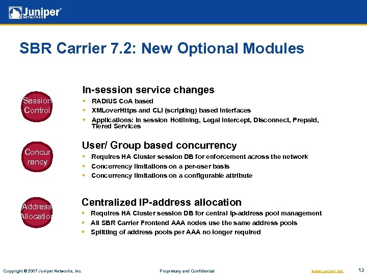 SBR Carrier 7. 2: New Optional Modules In-session service changes Session Control § RADIUS