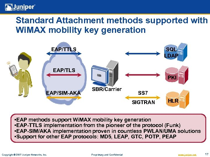 Standard Attachment methods supported with Wi. MAX mobility key generation EAP/TTLS SQL LDAP EAP/TLS