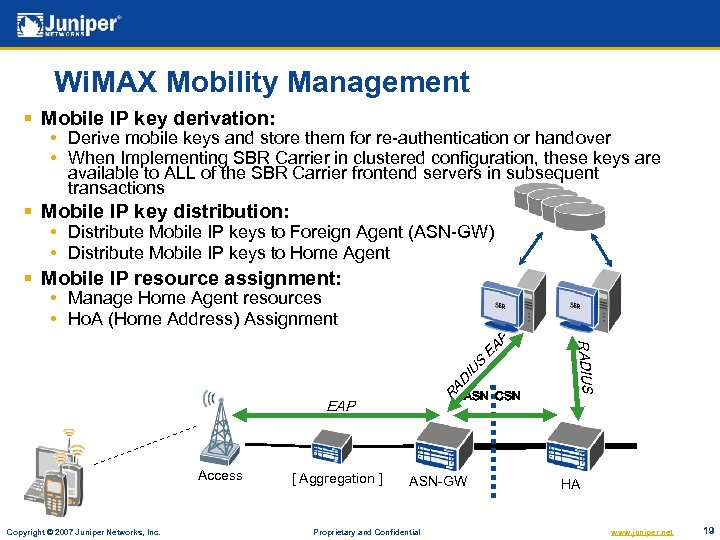 Wi. MAX Mobility Management § Mobile IP key derivation: • Derive mobile keys and
