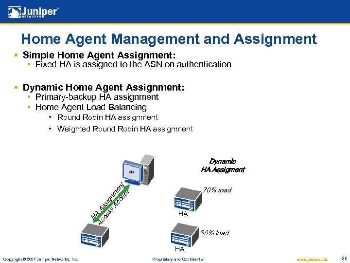 Home Agent Management and Assignment § Simple Home Agent Assignment: • Fixed HA is