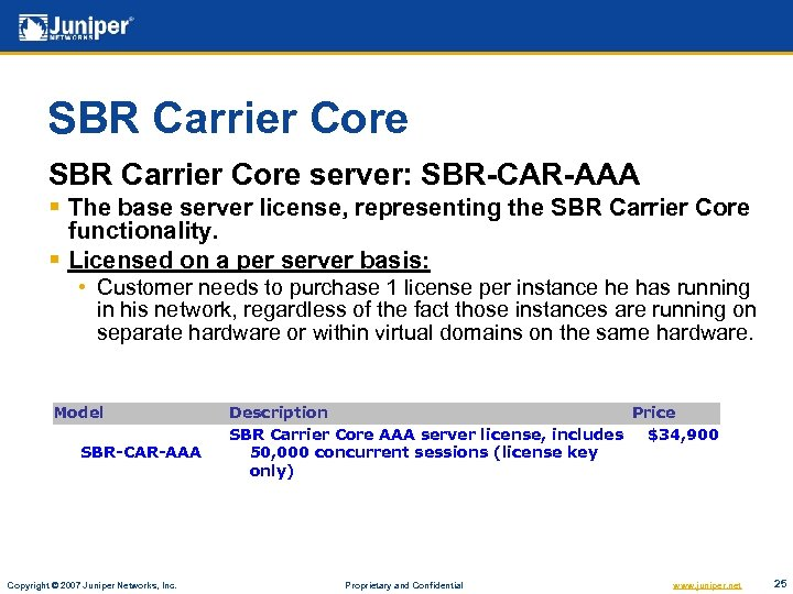 SBR Carrier Core server: SBR-CAR-AAA § The base server license, representing the SBR Carrier