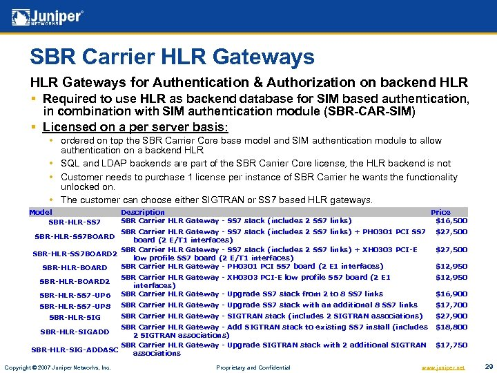 SBR Carrier HLR Gateways for Authentication & Authorization on backend HLR § Required to