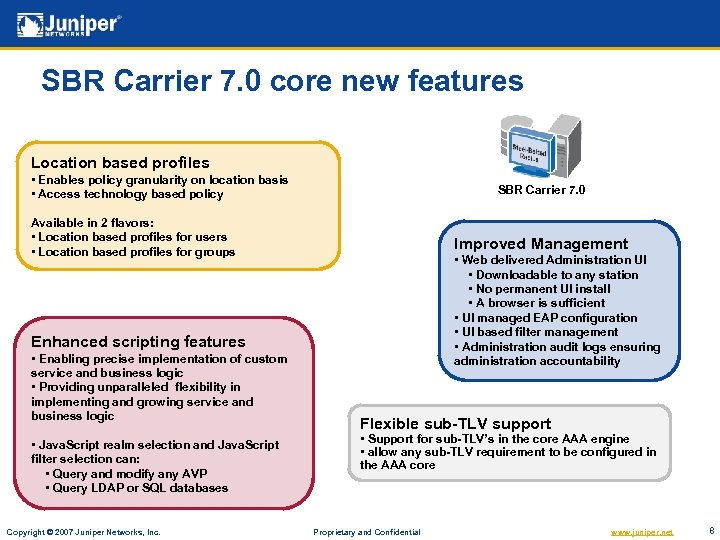 SBR Carrier 7. 0 core new features Location based profiles • Enables policy granularity