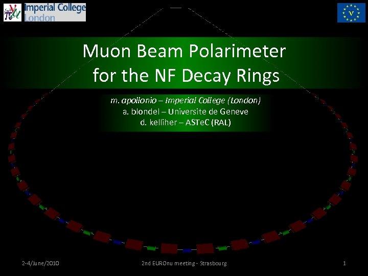 Muon Beam Polarimeter for the NF Decay Rings m. apollonio – Imperial College (London)