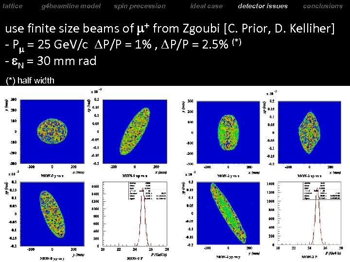lattice g 4 beamline model spin precession ideal case detector issues conclusions use finite