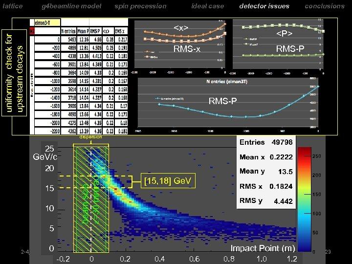 lattice g 4 beamline model spin precession ideal case detector issues uniformity check for