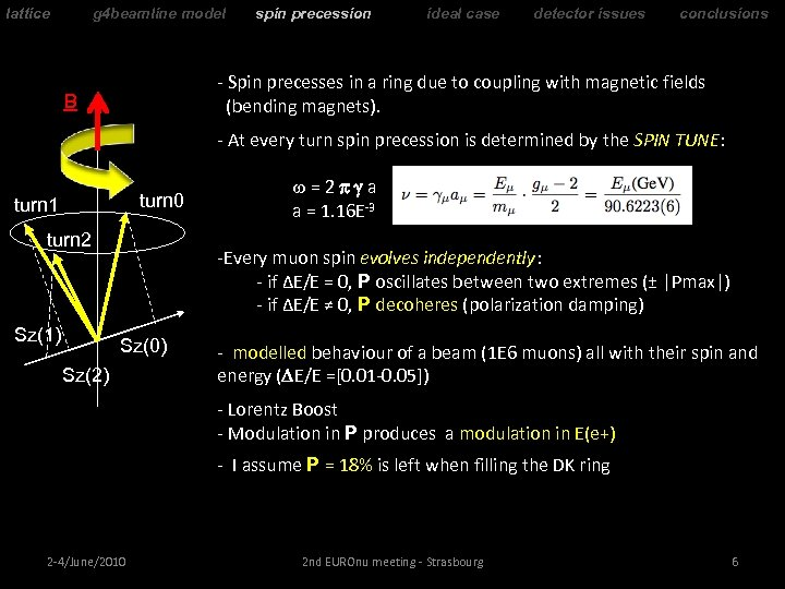 lattice g 4 beamline model spin precession ideal case detector issues conclusions - Spin