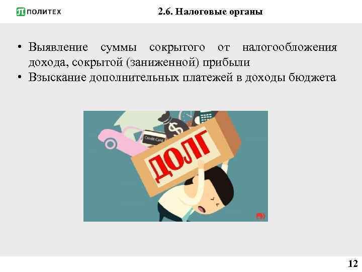 2. 6. Налоговые органы • Выявление суммы сокрытого от налогообложения дохода, сокрытой (заниженной) прибыли