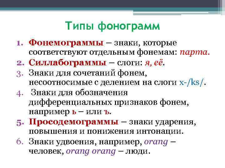 Типы фонограмм 1. Фонемограммы – знаки, которые соответствуют отдельным фонемам: парта. 2. Силлабограммы –