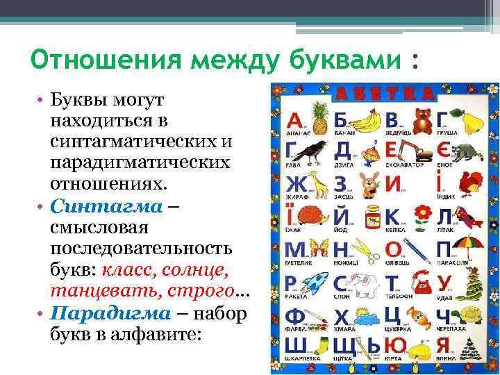 Отношения между буквами : • Буквы могут находиться в синтагматических и парадигматических отношениях. •
