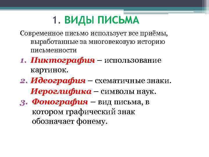 1. ВИДЫ ПИСЬМА Современное письмо использует все приёмы, выработанные за многовековую историю письменности 1.