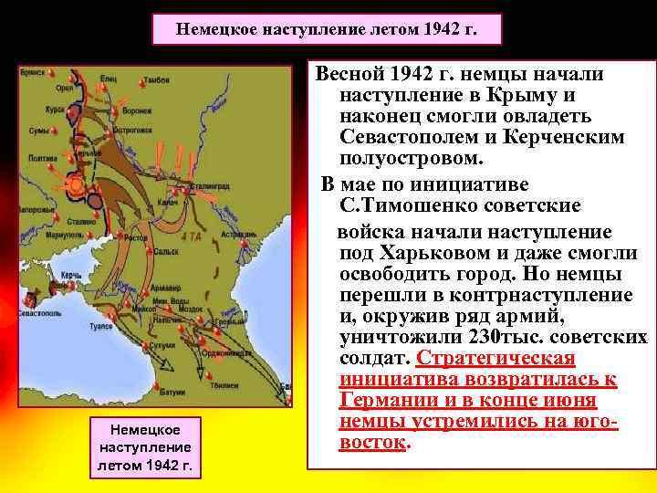 Немецкое наступление летом 1942 г. Весной 1942 г. немцы начали наступление в Крыму и
