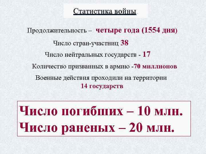 Статистика войны. Продолжительность – четыре года (1554 дня) Число стран-участниц 38 Число нейтральных государств