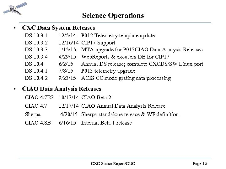 Science Operations • CXC Data System Releases DS 10. 3. 1 DS 10. 3.