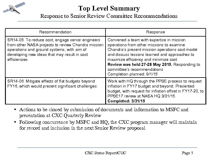 Top Level Summary Response to Senior Review Committee Recommendations Recommendation Response SR 14 -05.
