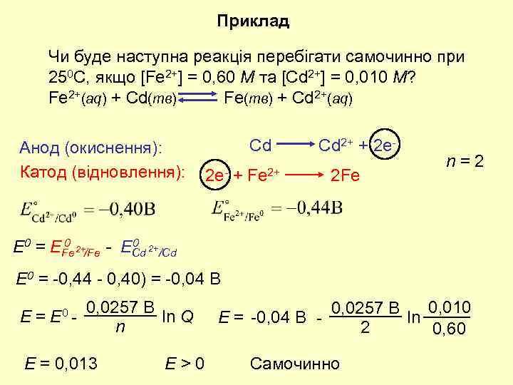 Приклад Чи буде наступна реакція перебігати самочинно при 250 C, якщо [Fe 2+] =