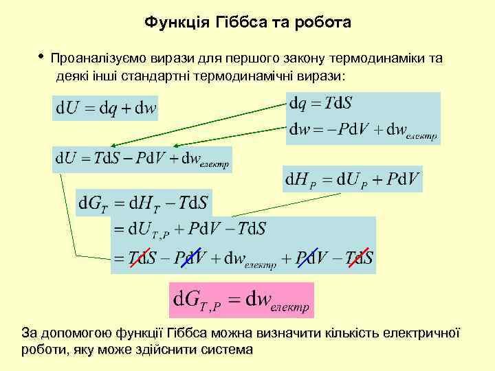 Функція Гіббса та робота • Проаналізуємо вирази для першого закону термодинаміки та деякі інші