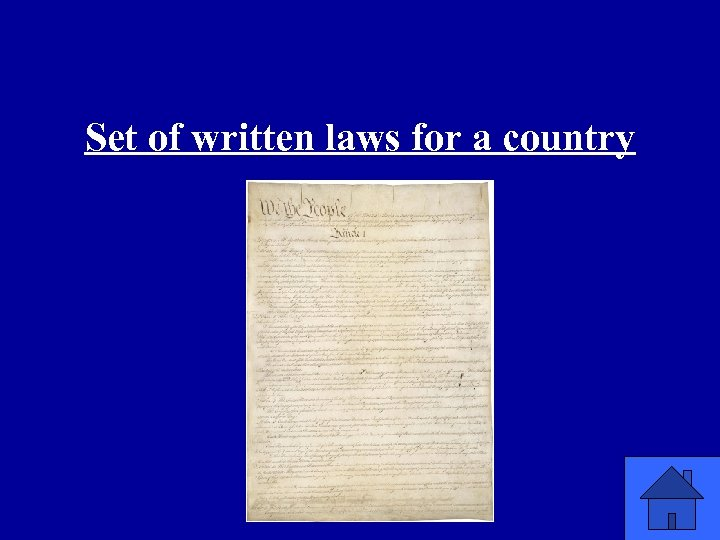 Set of written laws for a country