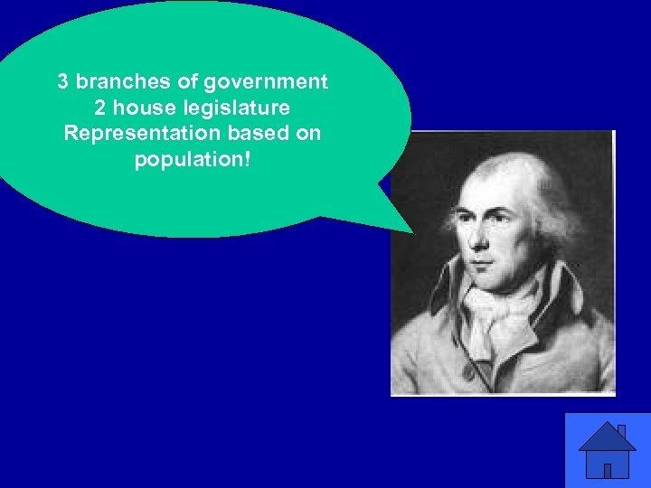 3 branches of government 2 house legislature Representation based on population!