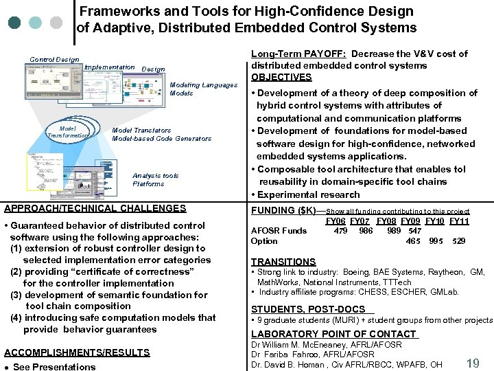 Frameworks and Tools for High-Confidence Design of Adaptive, Distributed Embedded Control Systems Control Design