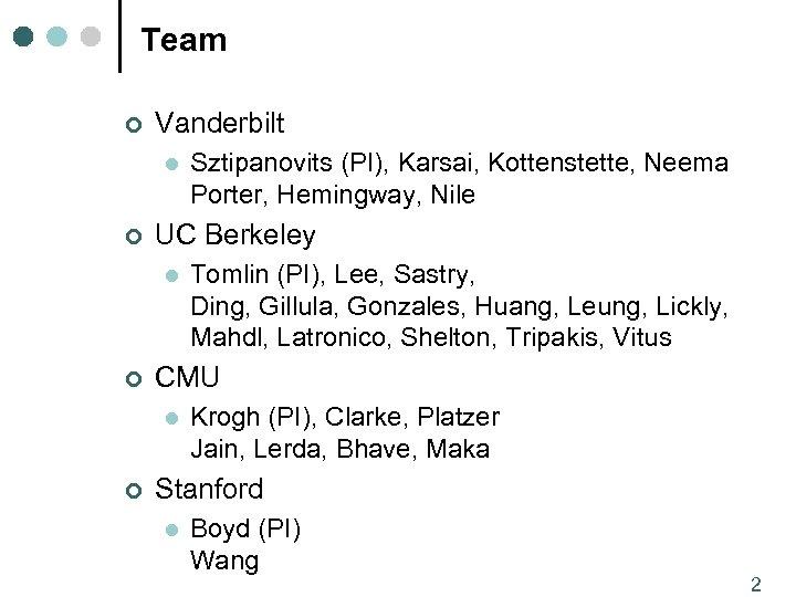 Team ¢ Vanderbilt l ¢ UC Berkeley l ¢ Tomlin (PI), Lee, Sastry, Ding,