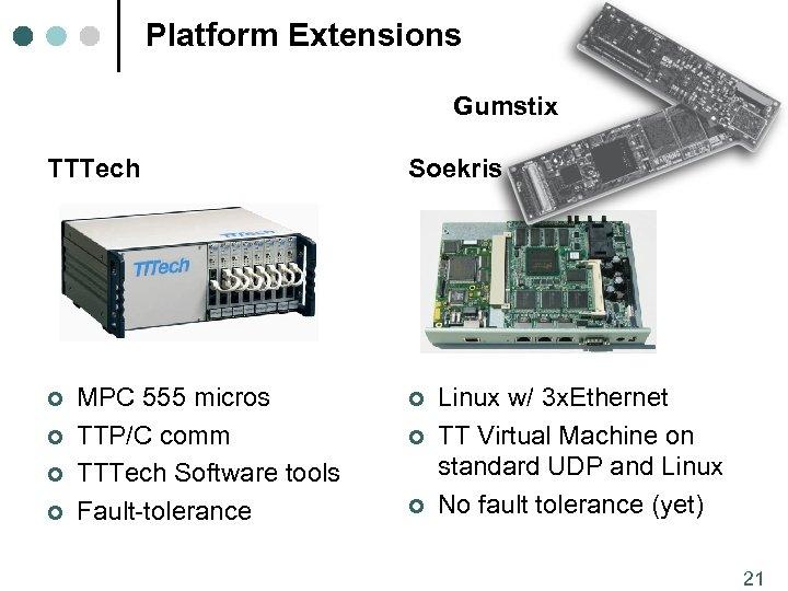 Platform Extensions Gumstix TTTech ¢ ¢ MPC 555 micros TTP/C comm TTTech Software tools