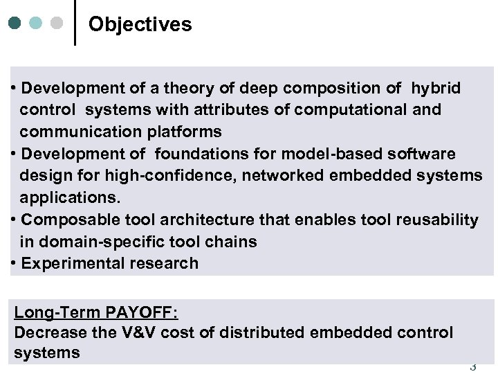 Objectives • Development of a theory of deep composition of hybrid control systems with