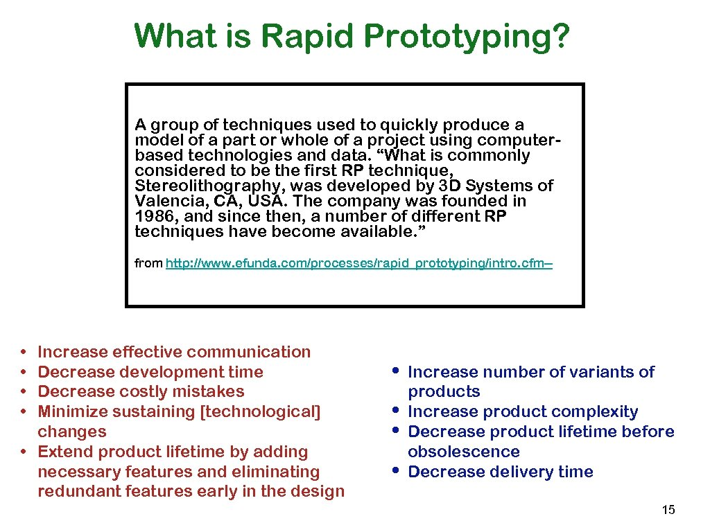 What is Rapid Prototyping? A group of techniques used to quickly produce a model