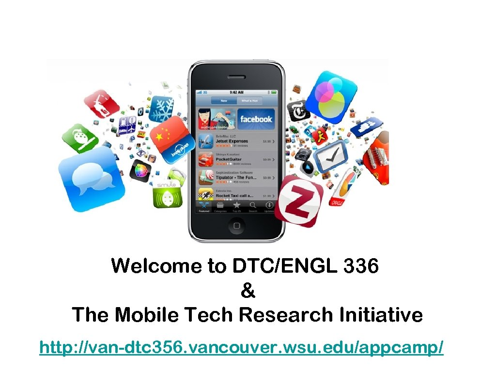 Welcome to DTC/ENGL 336 & The Mobile Tech Research Initiative http: //van-dtc 356. vancouver.