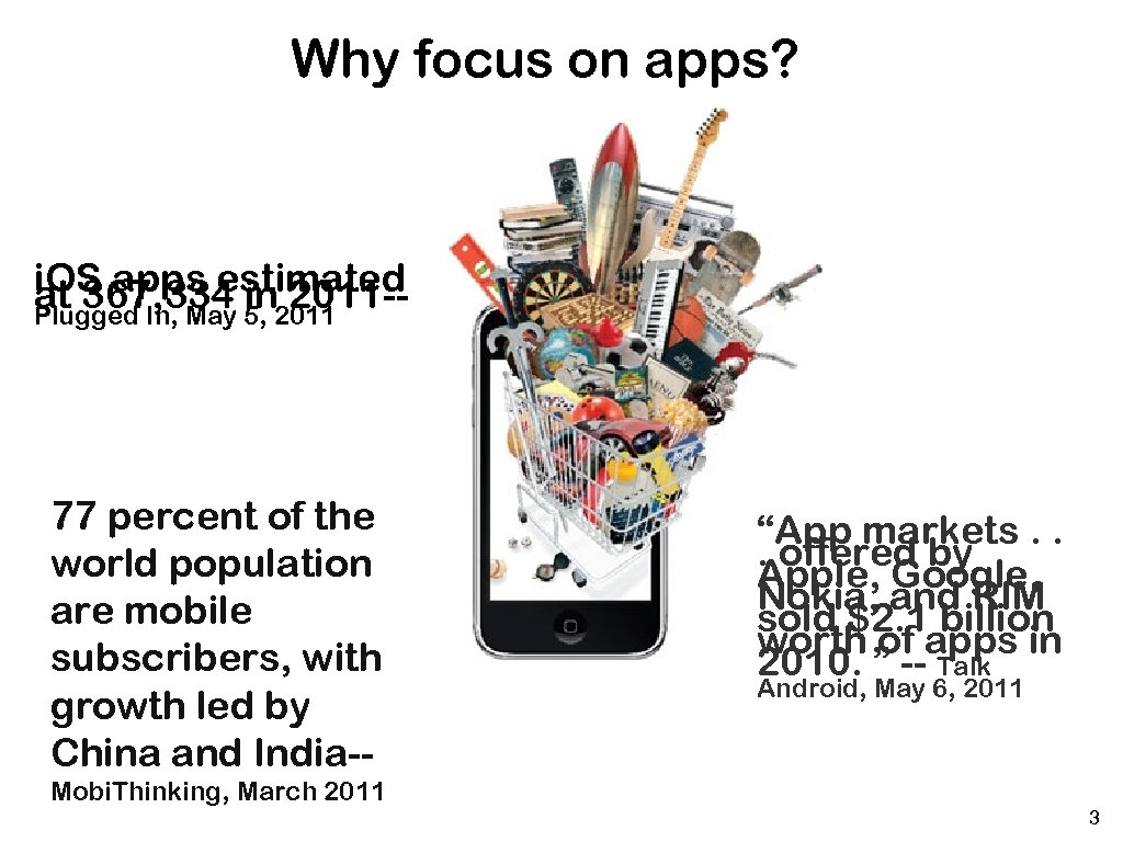 Why focus on apps? i. OS apps estimated at 367, 334 5, 2011 in