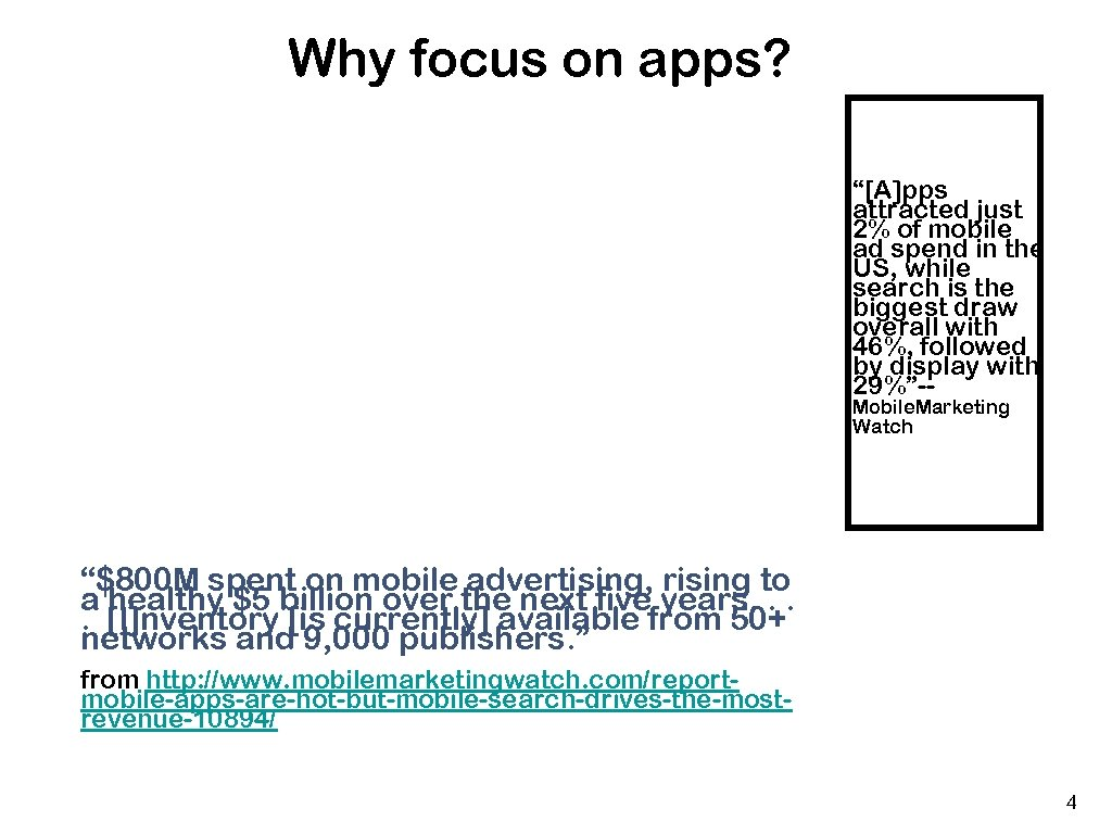 "Why focus on apps? ""[A]pps attracted just 2% of mobile ad spend in the"