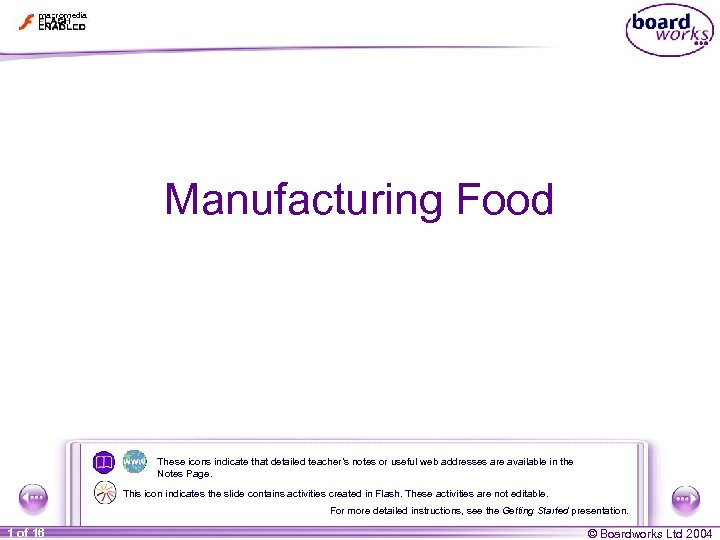 Manufacturing Food These icons indicate that detailed teacher's notes or useful web addresses are
