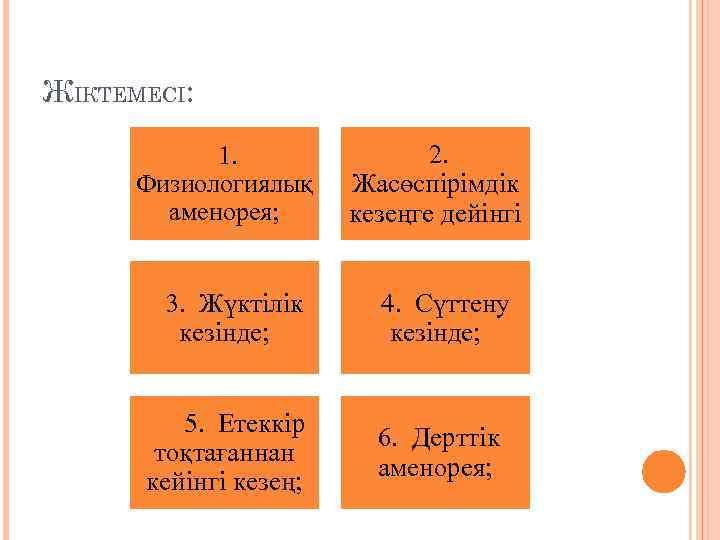ЖІКТЕМЕСІ: 1. Физиологиялық аменорея; 3. Жүктілік кезінде; 5. Етеккір тоқтағаннан кейінгі кезең; 2. Жасөспірімдік
