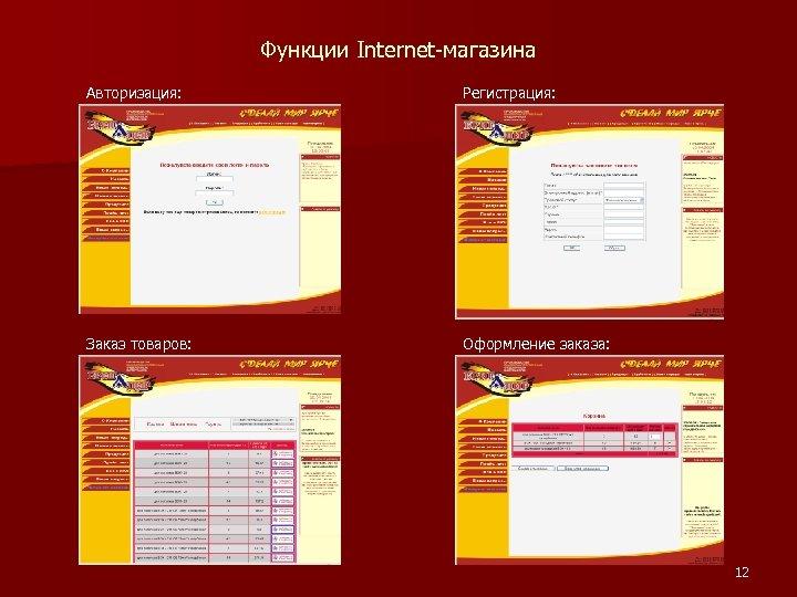 Функции Internet-магазина Авторизация: Регистрация: Заказ товаров: Оформление заказа: 12