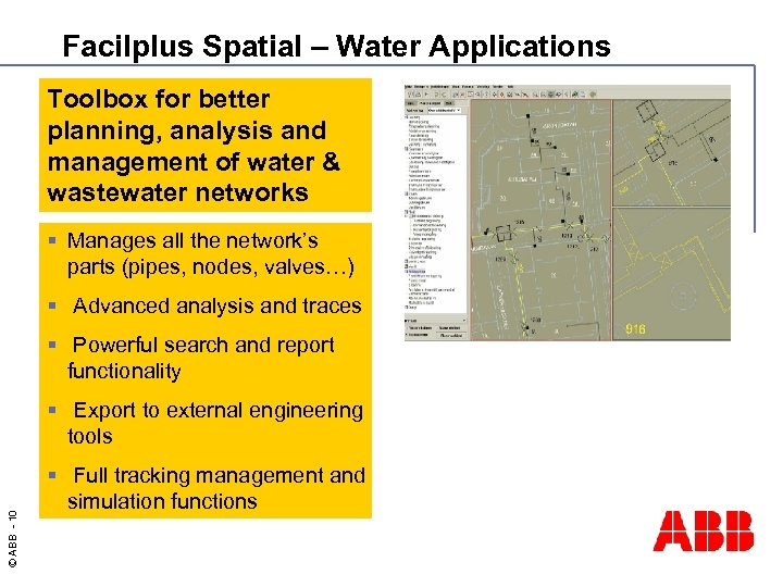 Facilplus Spatial – Water Applications Toolbox for better planning, analysis and management of water