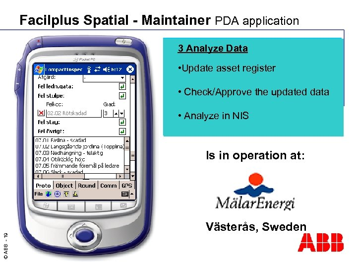 Facilplus Spatial - Maintainer PDA application 3 Analyze Data 2 Execute Maintenance • Update