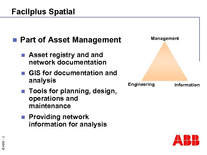 Facilplus Spatial n Part of Asset Management n Asset registry and network documentation n