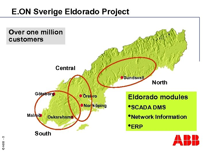 E. ON Sverige Eldorado Project Over one million customers Central Sundsvall Göteborg North ©
