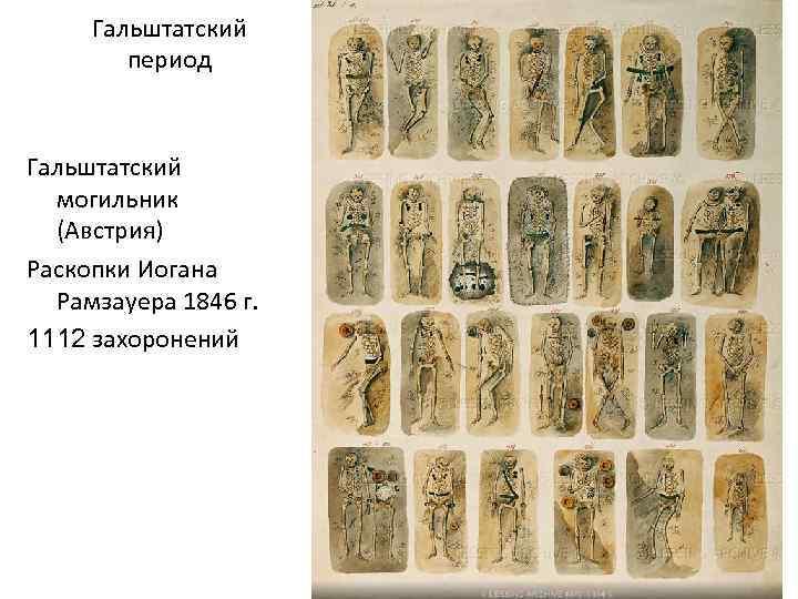 Гальштатский период Гальштатский могильник (Австрия) Раскопки Иогана Рамзауера 1846 г. 1112 захоронений